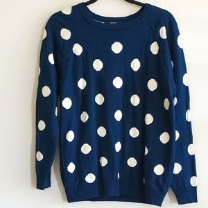 Forever21 Blue Polka Dotted Pullover Sweater